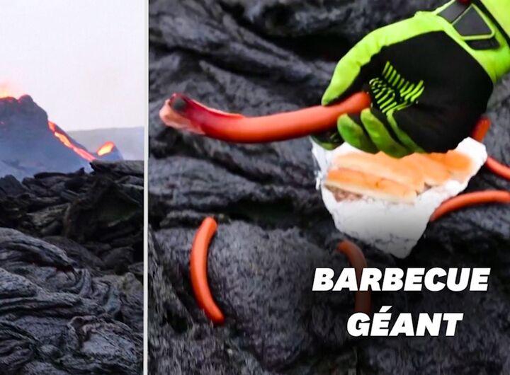 Islande, ils profitent de l'éruption volcanique pour cuire leurs hot-dogs